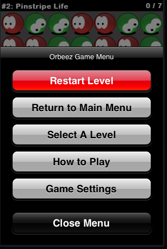 Orbeez In Game Menu